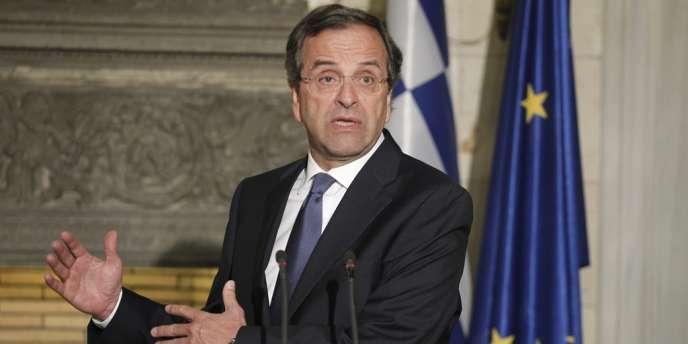 Le premier ministre grec Antonis Samaras lors de sa rencontre avec Jean-Claude Juncker le 22 août à Athènes.