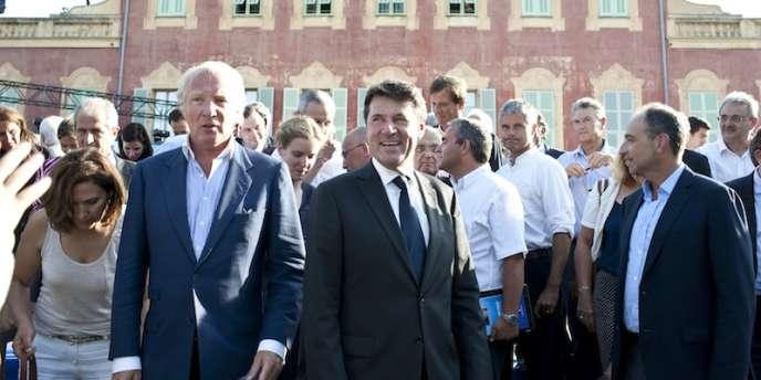 Les Amis de Nicolas Sarkozy réunis à Nice, vendredi 24 août. De gauche à droite, Brice Hortefeux, Christian Estrosi et Jean-François Copé.