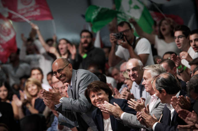 Martine Aubry, Harlem Désir, Jean-Marc Ayrault et Jean-Christophe Cambadélis à l'université d'été du PS à La Rochelle, le 26 août 2012.