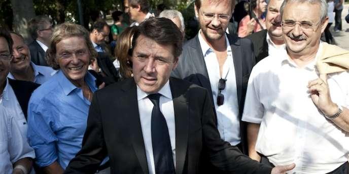 Christian Estrosi, vendredi 24 août, lors de la réunion des amis de Nicolas Sarkozy à Nice, au jardin du monastère de Cimiez.
