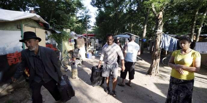 Le camp de Roms d'Evry, le 23 août.