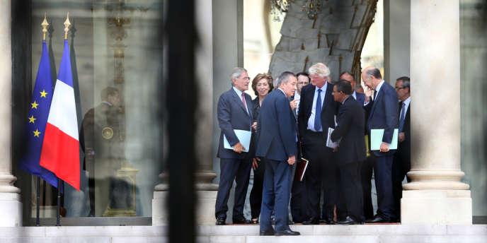 Des patrons du CAC 40, membres de l'Association française des entreprises privées (AFEP), le 23 août, au palais de l'Elysée.
