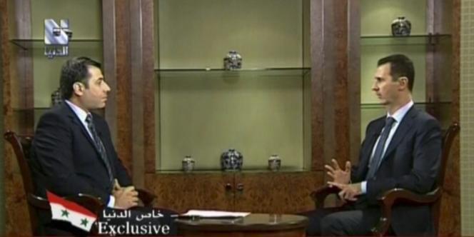 Bachar Al-Assad, lors de son interview, le 29 août 2012.