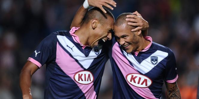 Gouffran et Jussie célèbrent la qualification de Bordeaux, le 30 août.