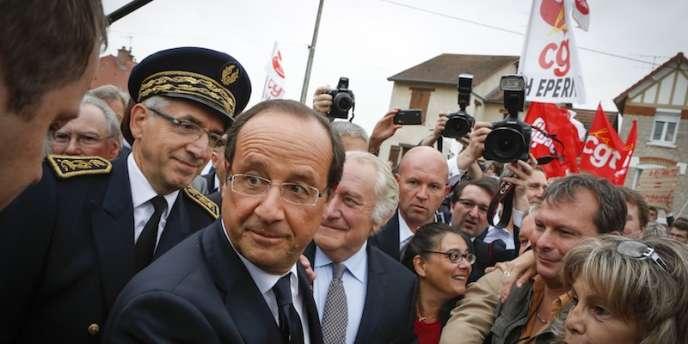 François Hollande, à la 66e foire de Châlons-en-Champagne, dans la Marne, vendredi 31 août.