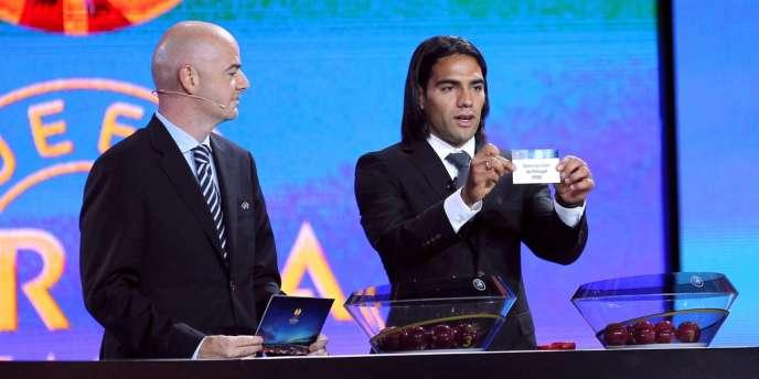 Falcao lors du tirage au sort de la Ligue Europa, le 31 août.