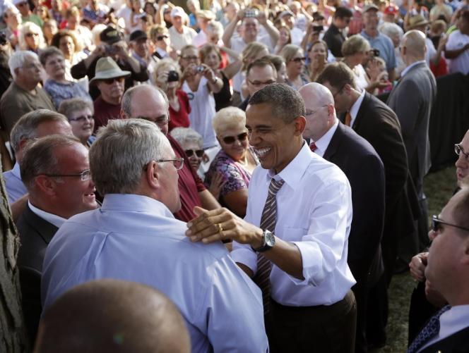 Barack Obama en campagne à Sioux City, dans l'Iowa, le 1er septembre 2012.
