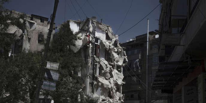 Alep, le quartier de Boustan Al-Basha, touché par des bombardements le 1er septembre.
