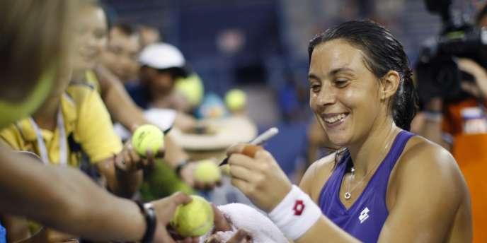 La française Marion Bartoli après sa victoire contre la tchèque Petra Kvitova en huitièmes de finale de l'US Open, le 2 septembre 2012.
