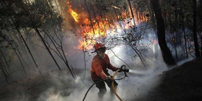 Un pompier lutte contre le feu à Alvaiazere au Portugal, mardi.