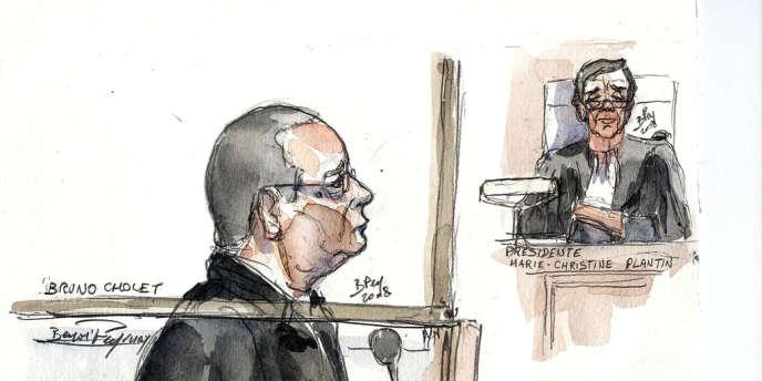 Un croquis d'audience représentant Bruno Cholet accusé d'avoir tué une jeune suédoise de 19 ans.