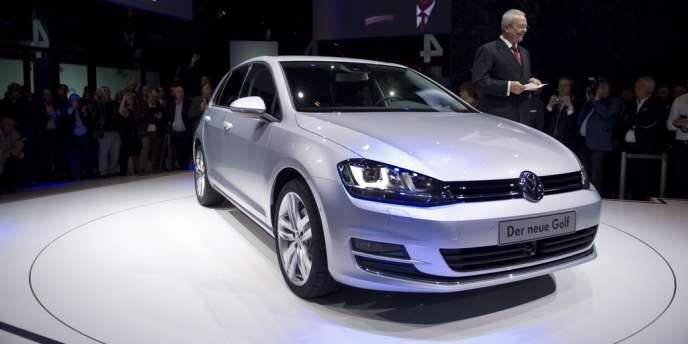 Présentation par Volkswagen de la Golf 7, le 4 septembre 2012, au musée d'art moderne de Berlin.