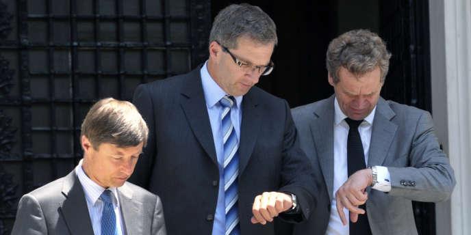 De gauche à droite : Matthias Mors (CE), Klaus Masuch (BCE) et Poul Thomsen (FMI).