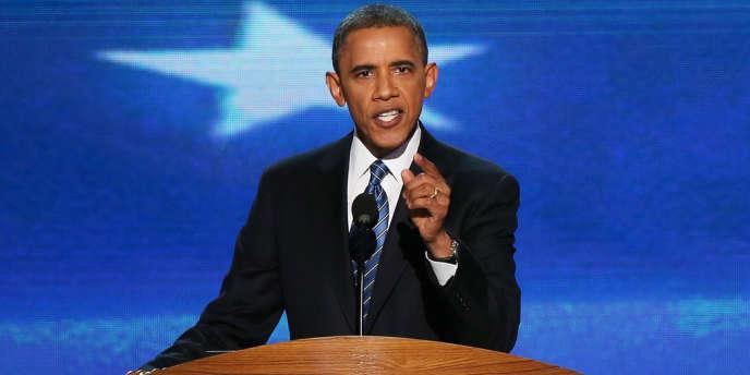 Barack Obama devant la convention démocrate, jeudi 6 septembre, à Charlotte, en Caroline du Nord.