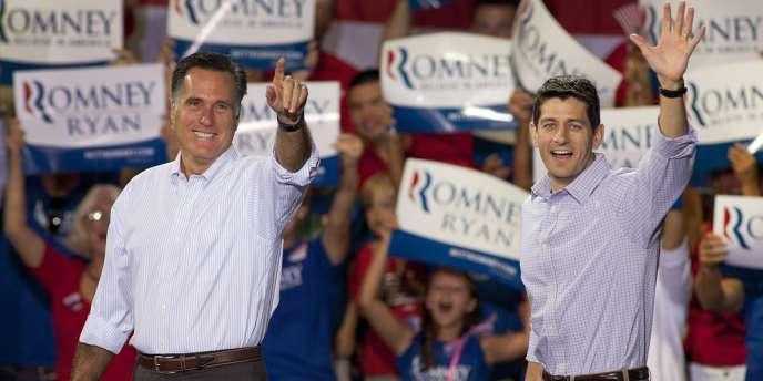 Mitt Romney et Paul Ryan, lors d'un meeting à  Mooresville, en Caroline du Nord, le 12 août 2012.