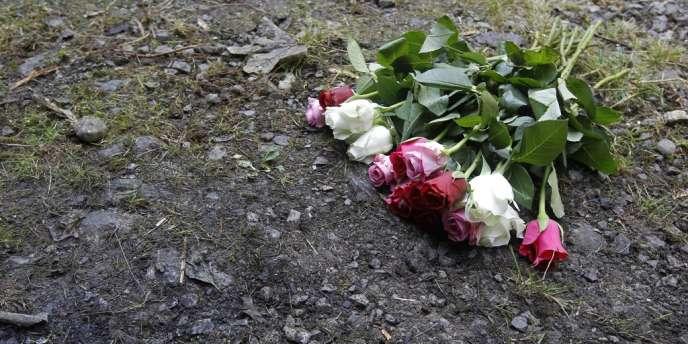 Des fleurs sur les lieux du drame de Chevaline.