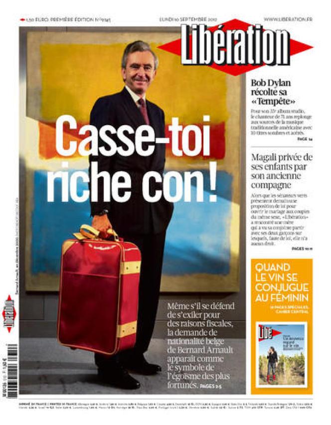 Bernard Arnault en Une de Libération du lundi 10 septembre