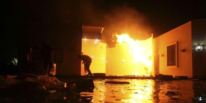 Le consulat des Etats-Unis à Benghazi, en Libye, le 11 septembre 2012.