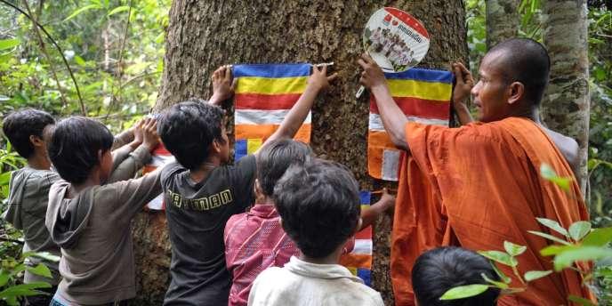 La protection de la forêt est un sujet sensible qui mobilise de nombreux Cambodgiens, comme ici en mai 2012, après la mort d'un militant écologiste abattu par la police.