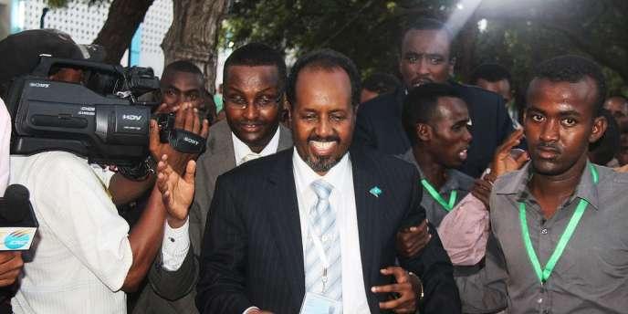 Le nouveau président somalien Hassan Cheikh Mohamoud, peu après son élection, le 10 septembre 2012, à Mogadiscio.