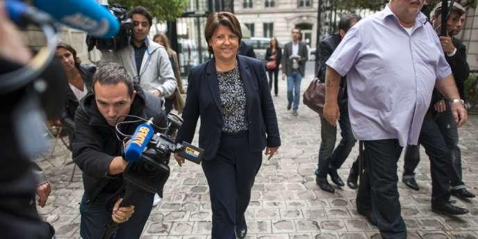 Martine Aubry, à son arrivée au siège du Parti socialiste, à Paris, mercredi 12 septembre.