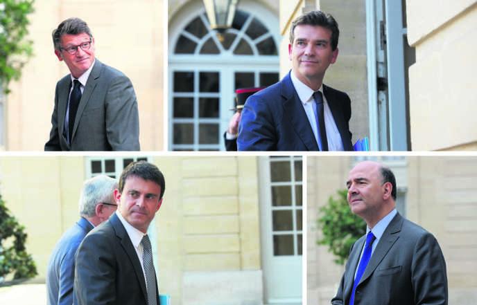 De haut en bas et de gauche à droite : Vincent Peillon, Arnaud Montebourg, Manuel Valls et Pierre Moscovici.