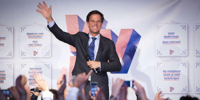 Le premier ministre libéral néerlandais Mark Rutte, le 12 septembre, à Schevingen aux Pays-Bas.