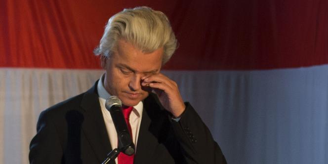 Geert Wilders, chef du parti d'extrême-droite néerlandais (le Parti de l aliberrté, PVV), le 12 septembre à La Hague, après les premiers résultats des législatives.