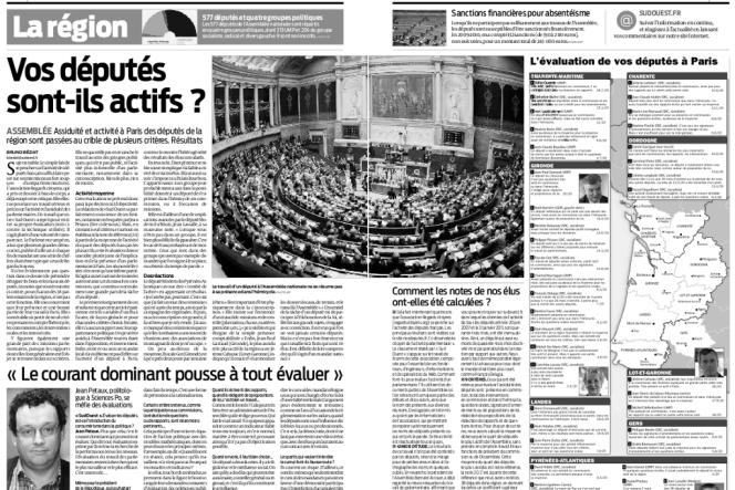 Double page du journal régional Sud-Ouest sur l'assiduité des députés.