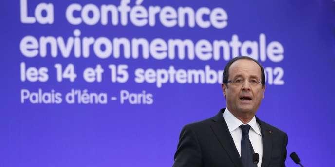 François Hollande, lors de son discours d'ouverture de la conférence environnementale, à Paris le 14 septembre 2012.