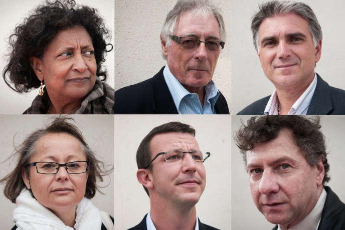 De haut en bas et de gauche à droite: les maires de Baillif (Guadeloupe), Marie-Lucile Breslau ; de Montbrison (Loire), Liliane Faure ; de Saint-Jean-de-Maurienne (Savoie), Pierre-Marie Charvoz ; le premier adjoint au maire de Gruissan (Aude), Louis Labatut ; les maires de Paimpol (Côtes-d'Armor), Jean-Yves de Chaisemartin, et de Trilport (Seine-et-Marne), Jean-Michel Morer.