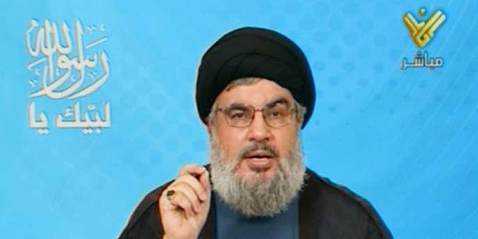 Capture d'écran de Al-Manar, la chaîne de télévision du Hezbollah, montrant Hassan Nasrallah, le secrétaire général du Hezbollah, appelant à une série de manifestations au Liban contre le film