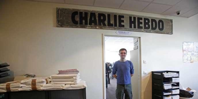 Le dessinateur Charb, dans les locaux de