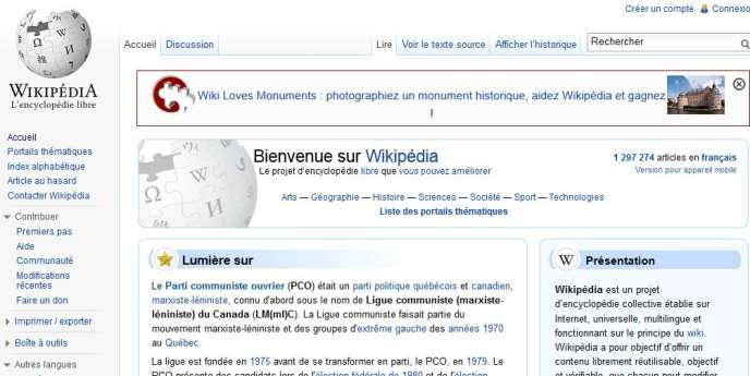 La page d'accueil de Wikipédia.