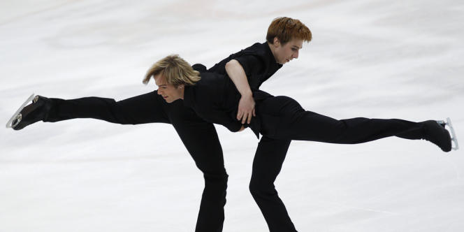 Michaelis et Wagner, lors de l'épreuve de patinage artistique des Gay Games de Cologne, le 2 août 2010.