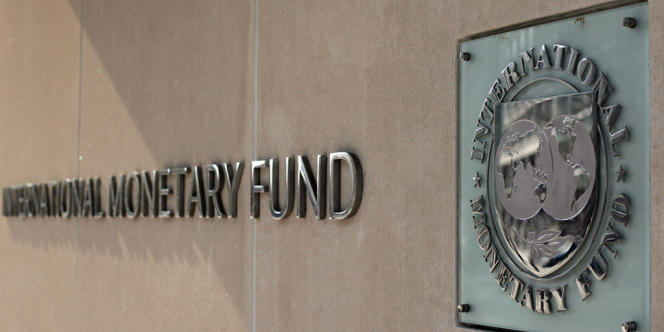 The International Monetary Fund logo at IMF headquarters on Pennsylvania Avenue in Washington, DC.