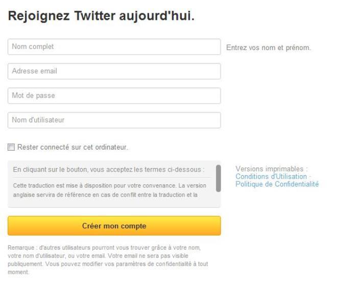 Capture d'écran du formulaire d'inscription sur Twitter.