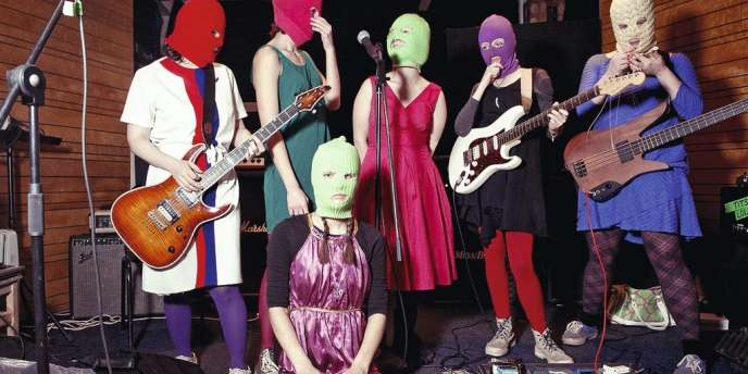 Les Pussy Riot, lors d'un enregistrement à Moscou, le 10 février. Les