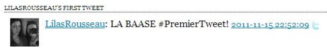 Le premier tweet de @LilasRousseau, via l'application My first Tweet.