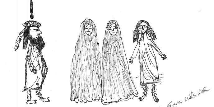 Le dessin représente un homme barbu, censé incarner Mahomet, à côté de trois personnages, dont deux femmes quasi intégralement voilées, avec la légende