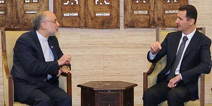 Ali Akbar Salehi, le ministre des affaires étrangères iranien, rencontre le président Bachar Al-Assad, le 19 septembre 2012, à Damas.