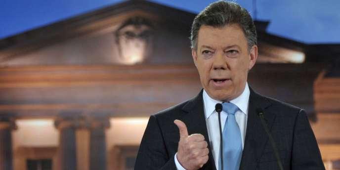 Le président colombien Juan Manuel Santos, lors d'un discours à la nation prononcé du palais présidentiel de Bogota, en août 2012.