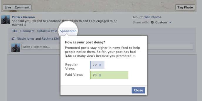 Le service payant de promotion sur Facebook, en test aux Etats-Unis.