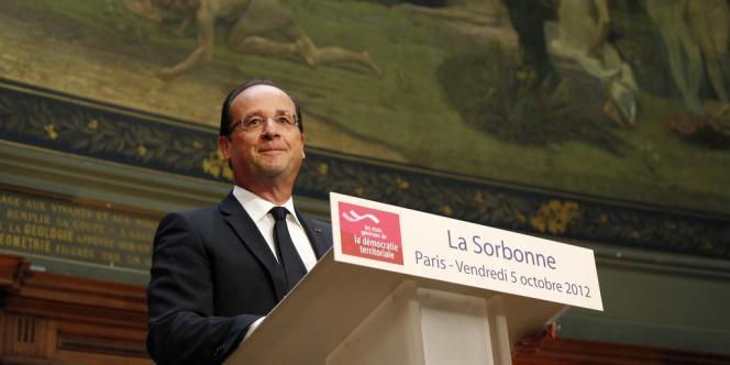 François Hollande à la Sorbonne le 5 octobre 2012.