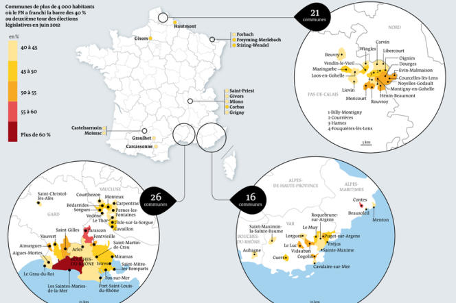 Cliquez sur l'illustration pour accéder à la carte des 77 villes de plus de 4 000 habitants où le Front national a obtenu plus de 40 % des suffrages en 2012.