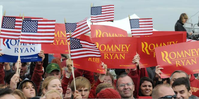 Des supporteurs de Mitt Romney dans l'Iowa, mardi 9 octobre.