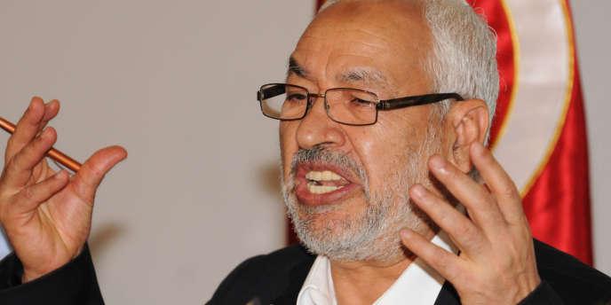 Le chef du parti Ennahda, Rached Gannouchi, lors d'une conférence de presse à Tunis le 30 août.