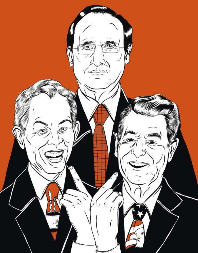 De gauche à droite, Tony Blair, François Hollande et Ronald Reagan.