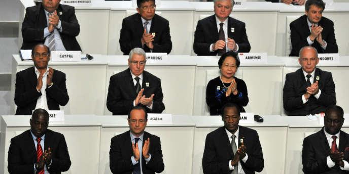 Plusieurs chefs d'Etat, dont François Hollande, lors du 14e sommet de l'Organisation internationale de la francophonie (OIF) qui se tient samedi et dimanche à Kinshasa.
