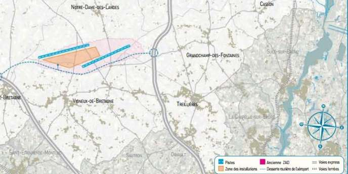 Projet d'aéroport de Notre-Dame-des-Landes, selon le document d'information du public, début 2010.